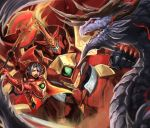 1girl axe clenched_hand commentary_request dragon fennachtur highres holding holding_axe isabella_of_the_red_steel nyaasora pixiv_fantasia pixiv_fantasia_last_saga punching red_armor red_eyes screaming