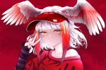 1girl akegata_tobari alternate_costume bangs bare_shoulders bird_wings closed_mouth collarbone commentary_request contemporary eyebrows_visible_through_hair fingernails half-closed_eyes hand_up head_wings highres japanese_crested_ibis_(kemono_friends) japari_symbol kemono_friends long_sleeves looking_at_viewer medium_hair multicolored_hair off_shoulder orange_hair redhead shiny shiny_hair short_over_long_sleeves short_sleeves sidelocks smile solo spread_wings sweater upper_body v visor_cap white_hair wings yellow_eyes