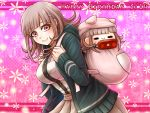 1girl backpack bag bangs blunt_bangs breasts brown_hair cardigan character_doll danganronpa dress_shirt grey_skirt happy_birthday hood hood_down hooded_cardigan large_breasts leaning_forward long_hair looking_at_viewer miniskirt nanami_chiaki neck_ribbon open_cardigan open_clothes pink_background pink_eyes pink_ribbon pleated_skirt ribbon shiny shiny_hair shirt skirt solo standing super_danganronpa_2 white_shirt yumaru_(marumarumaru)