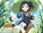 1girl ainu_clothes ayakashi_kyoushuutan bead_necklace beads black_hair blue_eyes blue_sky blush cura day headband highres jewelry leaf_umbrella long_sleeves looking_at_viewer necklace official_art open_mouth outdoors palopolo short_hair sky smile solo toad_(animal) walking water_drop