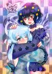 2girls backless_outfit black_hair blush butterfly_wings closed_mouth collar eyebrows_visible_through_hair flower grey_eyes hair_flower hair_ornament hair_ribbon hakkasame hand_on_another's_head heart highres hug konno_junko long_hair long_sleeves low_twintails mizuno_ai multiple_girls one_eye_closed open_mouth red_eyes ribbon short_hair silver_hair smile twintails wings yuri zombie_land_saga