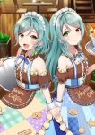 2girls :d apron aqua_hair back-to-back bang_dream! bangs bare_shoulders blue_dress blue_ribbon bow braid brown_shirt cafe checkered closed_mouth clothes_writing collar collarbone cuff_links detached_collar dress eyebrows_visible_through_hair feet_out_of_frame frills from_side green_eyes hair_bow hand_up highres hikawa_hina hikawa_sayo holding holding_hands holding_tray indoors long_hair looking_at_viewer maid maid_apron maid_headdress mia_(fai1510) multiple_girls neck_ribbon open_mouth parfait puffy_short_sleeves puffy_sleeves ribbon shirt short_hair short_sleeves siblings side_braid sidelocks smile standing star swept_bangs teeth tray twin_braids twins upper_teeth waist_apron