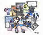 ! 1girl :o absurdres animal_ear_fluff animal_ears arm_up bangs black_hair blue_sailor_collar blue_skirt breasts brown_eyes brown_footwear char colored_eyelashes commentary_request dated eyebrows_visible_through_hair fang fingernails garter_straps glowing hair_between_eyes highres holding holding_stylus long_hair midriff navel necro-san open_mouth original panties pleated_skirt revision sailor_collar shirt shoes short_sleeves signature skirt small_breasts solo spoken_exclamation_mark squatting stylus thigh-highs translation_request underwear very_long_hair white_legwear white_panties white_shirt