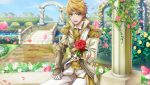1boy aiguillette alternate_costume armor bangs blonde_hair blue_sky blush brown_bess_(senjuushi) clenched_hand cravat day earrings embarrassed epaulettes eyebrows_visible_through_hair flower frown game_cg garden gauntlets gloves green_eyes highres holding holding_flower jewelry light_blush looking_at_viewer male_focus non-web_source official_art open_mouth petals reaching_out red_flower red_rose rose rose_petals senjuushi:_the_thousand_noble_musketeers short_hair single_earring single_gauntlet sitting sky solo sparkle white_gloves yellow_flower yellow_rose