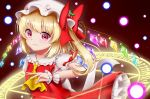 1girl arm_up blonde_hair blush commentary_request cranberry danmaku eyebrows_visible_through_hair flandre_scarlet gradient gradient_background grin hat hat_ornament hat_ribbon hexagram highres looking_at_viewer magic_circle mob_cap nyanyanoruru partial_commentary puffy_short_sleeves puffy_sleeves red_background red_eyes red_skirt red_vest ribbon runes shirt short_sleeves side_ponytail simple_background skirt smile solo touhou vest white_headwear white_shirt wide-eyed wings wrist_cuffs yellow_neckwear