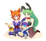 2girls :| alternate_costume androgynous animal_ears apron bare_shoulders blue_eyes blush_stickers bow bowtie breasts bunny_girl bunnysuit cat_ears cat_paws cat_tail closed_mouth crossed_legs enmaided eyebrows_visible_through_hair facial_tattoo fang flats ganbare_goemon green_eyes green_hair japanese_clothes large_breasts long_hair low-tied_long_hair maid maid_apron maid_headdress mechanical_hands multiple_girls ninja orange_eyes orange_hair pantyhose paws purple_hair rabbit_ears robot robot_ears ryukou0125 sasuke_(ganbare_goemon) shoes short_hair sitting smile sneakers suzaku_(ganbare_goemon) tabi tail tattoo yae_(ganbare_goemon)