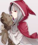 1girl animal_ears belt black_gloves black_hair black_pants fire_emblem fire_emblem_if gloves grey_background grey_hair haru_(nakajou-28) hood long_hair long_sleeves looking_at_viewer multicolored_hair pants portrait red_eyes simple_background solo stuffed_animal stuffed_toy tail teddy_bear toy two-tone_hair velour_(fire_emblem_if) wolf_ears wolf_tail