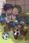 :p ;p ball black_hair blush green_hair highres looking_at_viewer one_eye_closed original shade soccer soccer_ball soccer_uniform sportswear taremayuzou telstar tongue tongue_out yaoi