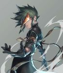 1boy black_coat black_gloves closed_mouth cowboy_shot gloves green_hair grey_background highres katsutake male_focus mask outstretched_hand simple_background solo spiky_hair sync tales_of_(series) tales_of_the_abyss