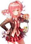 5girls blonde_hair blue_eyes blue_hair cheerleader chibi cross_hair_ornament dia_(shugo_chara!) guardian_chara hair_ornament hat hinamori_amu lium miki_(shugo_chara!) multiple_girls necktie open_mouth orange_hair pink_hair pom_poms ran_(shugo_chara!) school_uniform seiyo_academy_uniform short_hair shugo_chara! skirt suu_(shugo_chara!) visor_cap yellow_eyes