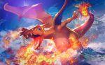 blue_eyes charizard day fire gen_1_pokemon lens_flare nijimaarc no_humans outdoors pokemon pokemon_(creature)