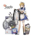 1girl absurdres ahoge artoria_pendragon_(all) basket blonde_hair blue_dress blush box bra commentary detergent dress english_commentary fate/stay_night fate_(series) frills full_body gompang green_eyes highres holding_clothes huge_filesize korean_text leg_garter maid open_mouth saber short_dress simple_background solo translation_request underwear washing_machine