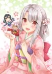 1girl :d black_hair blush brown_eyes chloe_von_einzbern eyebrows_visible_through_hair fate/kaleid_liner_prisma_illya fate_(series) floral_print flower grin hair_between_eyes hair_flower hair_ornament hakama highres illyasviel_von_einzbern japanese_clothes kimono long_hair looking_at_viewer mikujin_(mikuzin24) miyu_edelfelt obi open_mouth pink_flower pink_kimono print_kimono purple_hakama red_eyes red_hakama sash silver_hair smile solo twintails yellow_eyes yukata