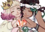 +_- 2girls ;) armlet bare_arms bare_shoulders black_hair blonde_hair character_name cheek-to-cheek closed_mouth crown dark_skin fingernails furrowed_eyebrows green_eyes green_hair green_nails hands_together headband headphones heart heart_hands height_difference highres hime_(splatoon) humanization iida_(splatoon) jewelry leaning_forward leaning_to_the_side lips long_hair long_sleeves looking_at_viewer medium_hair mole mole_under_mouth multicolored_hair multiple_girls nail_polish one_eye_closed pendant pink_hair pink_nails red_pupils ring simple_background sleeveless smile splatoon_(series) splatoon_2 susa_natsuo sweater symbol-shaped_pupils upper_body white_background yellow_eyes