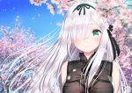 1girl bangs bare_shoulders black_ribbon blue_hair blurry blurry_foreground blush braid branch breasts cherry_blossoms depth_of_field eyebrows_visible_through_hair flower green_eyes hair_flower hair_ornament hair_over_one_eye hair_ribbon kamiki_kinu kinu_channel large_breasts long_hair looking_at_viewer petals pink_flower ribbon silver_hair sleeveless solo upper_body virtual_youtuber yasuyuki