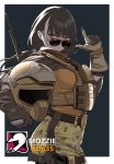 1girl biker black_hair bulletproof_vest character_name commentary_request cosplay girls_frontline gloves gun hand_gesture headwear_removed helmet helmet_removed heterochromia highres looking_at_viewer multicolored_hair rainbow_six_siege red_eyes ro635_(girls_frontline) solo sunglasses tactical_clothes two-tone_hair weapon white_hair yellow_eyes yitiao_er-hua