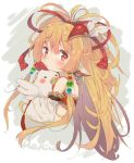 1girl animal animal_ears bandeau bare_shoulders bird blonde_hair blush character_name chicken detached_sleeves eip_(pepai) granblue_fantasy hair_ornament harvin holding holding_animal long_hair looking_at_viewer mahira_(granblue_fantasy) orange_hair red_eyes simple_background solo upper_body white_background wide_sleeves