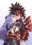 1boy 1girl absurdres aequorine arm_guards armor blush breasts brown_hair camilla_(fire_emblem_if) capelet closed_eyes embarrassed fire_emblem fire_emblem_if gloves headgear highres hug hug_from_behind kiss large_breasts long_hair purple_hair ryouma_(fire_emblem_if) spiky_hair