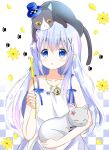 1girl :o animal animal_on_head bangs bare_arms bare_shoulders blue_eyes blue_hair blush cat cat_on_head cattail checkered checkered_background commentary_request dress eyebrows_visible_through_hair flower gochuumon_wa_usagi_desu_ka? hair_between_eyes hair_ornament holding holding_animal kafuu_chino long_hair on_head parted_lips petals plant ryoutan sleeveless sleeveless_dress solo very_long_hair white_dress x_hair_ornament yellow_flower