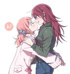 2girls bang_dream! bangs blue_eyes blue_scrunchie blush denim eye_contact face-to-face from_side green_eyes green_jacket hair_ornament hair_scrunchie hands_on_another's_shoulders hug jacket jeans long_hair long_sleeves looking_at_another multiple_girls open_mouth pants pink_hair pink_ribbon re_ghotion redhead ribbon scrunchie simple_background sweatdrop sweater twintails udagawa_tomoe uehara_himari white_background white_sweater yuri