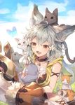 1girl ahoge animal_ears brown_eyes bug butterfly cat claw_(weapon) collar erune fangs flower granblue_fantasy grey_hair hair_flower hair_ornament insect sen_(granblue_fantasy) weapon