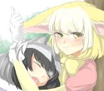 1girl animal_ears black_hair blonde_hair blush closed_eyes closed_mouth commentary_request common_raccoon_(kemono_friends) dress fang fennec_(kemono_friends) fox_ears fur-trimmed_gloves fur_trim gloves hand_in_another's_hair highres kemono_friends matsunaga777 open_mouth pink_dress short_sleeves sleeping sleeping_on_person smirk solo white_gloves yellow_neckwear