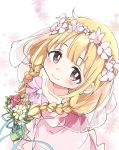 1girl alternate_hairstyle bangs blonde_hair blunt_bangs blush bouquet braid bridal_veil brown_eyes closed_mouth collarbone dress eyebrows_visible_through_hair flower from_above futaba_anzu idolmaster idolmaster_cinderella_girls ixy long_hair looking_at_viewer smile solo twin_braids veil wedding_dress
