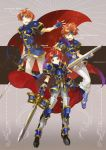 1boy ahoge arm_guards armor blue_hair breastplate cape fingerless_gloves fire_emblem fire_emblem:_fuuin_no_tsurugi fire_emblem_heroes gloves headband holding holding_sword holding_weapon looking_at_viewer noki_(affabile) pauldrons redhead roy_(fire_emblem) smile sword weapon