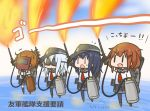 +++ 4girls akatsuki_(kantai_collection) anchor_print arm_up bangs black_legwear blue_hair brown_hair chibi closed_mouth commentary_request curse_(023) dated eyebrows_visible_through_hair fang fire flamethrower flat_cap flying_sweatdrops folded_ponytail full_body gas_tank hair_between_eyes hat hibiki_(kantai_collection) ikazuchi_(kantai_collection) inazuma_(kantai_collection) kantai_collection kneehighs long_hair long_sleeves multiple_girls neckerchief ocean open_mouth outdoors pantyhose pleated_skirt purple_hair red_neckwear school_uniform serafuku short_hair skirt sky smile standing standing_on_liquid sweat translated v-shaped_eyebrows water weapon welding_goggles welding_mask white_hair |_|