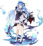 1girl :o ahoge alternate_costume azur_lane bangs bare_shoulders blue_dress blue_hair blush breasts cannon choker closed_mouth dress eyebrows_visible_through_hair full_body gloves hair_between_eyes hair_ornament helena_(azur_lane) high_heels layered_dress long_hair looking_at_hand medium_breasts multicolored multicolored_clothes multicolored_dress official_art playing_with_hair pout purple_footwear realmbw rigging shawl smile standing standing_on_liquid strapless strapless_dress transparent_background very_long_hair violet_eyes white_dress