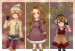 3girls black_legwear blonde_hair blush boots brown_eyes brown_hair closed_mouth commentary_request digimon digimon_adventure dress earmuffs fur_trim gloves hand_on_earmuffs hat long_hair looking_at_viewer multiple_girls open_mouth sazanami_(saza73) short_hair skirt_hold smile tachikawa_mimi takenouchi_sora winter_clothes yagami_hikari