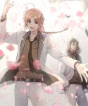 2boys :d abuto arm_up belt blue_eyes blurry_foreground braided_ponytail brown_hair brown_neckwear brown_shirt cherry_blossoms collared_shirt da_raku dress_shirt eyebrows_visible_through_hair floating_hair gintama hand_in_pocket highres jacket kamui_(gintama) long_hair looking_at_viewer male_focus multiple_boys open_clothes open_jacket open_mouth outstretched_arm pants ponytail shirt smile standing white_jacket white_pants wing_collar