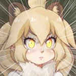 1girl animal_ear_fluff animal_ears blonde_hair blush commentary_request emphasis_lines fur_collar hair_between_eyes kemono_friends lion_(kemono_friends) lion_ears long_hair looking_at_viewer portrait solo t_jiroo_(ringofriend) yellow_eyes