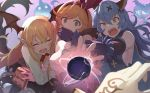 3girls animal_ears arm_hug bangs bat_wings black_gloves black_skirt blonde_hair blue_hair book breasts brown_eyes brown_hair clarisse_(granblue_fantasy) commentary_request detached_wings elbow_gloves empty_eyes erune eyebrows_visible_through_hair fang ferry_(granblue_fantasy) flower ghost gloves granblue_fantasy green_eyes hair_between_eyes hair_ribbon head_wings hinami_(hinatamizu) holding holding_book long_hair long_sleeves looking_at_viewer magic medium_breasts multiple_girls open_mouth orange_hair pointy_ears ponytail rabbit_ears red_flower red_rose ribbon rose shirt sideboob skirt sleeveless sweat tears vampy wavy_hair white_shirt wings