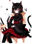 1girl absurdres animal_ear_fluff animal_ears artist_name bangs black_hair black_hairband black_legwear black_shirt bow brooch bug butterfly cat_ears cat_tail chair cropped_legs cup earrings eyebrows_visible_through_hair eyelashes flower frilled_sleeves frills gothic_lolita hair_between_eyes hairband hand_up high-waist_skirt highres holding holding_cup insect jewelry juliet_sleeves lolita_fashion lolita_hairband long_sleeves looking_at_viewer nail_polish one_eye_closed original pantyhose petals petticoat puffy_sleeves red_bow red_eyes red_flower red_nails red_rose red_skirt revision rose rose_petals sheya shirt short_hair signature simple_background sitting skirt solo spade_(shape) table tail teacup white_background wide_sleeves