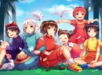 arrietty bird black_hair blue_eyes brown_hair child commentary_request company_connection crossover dress everyone flower gake_no_ue_no_ponyo hairband happy highres howl_no_ugoku_shiro karigurashi_no_arrietty kiki kusakabe_mei kusakabe_satsuki long_hair majo_no_takkyuubin multiple_girls no_socks ogino_chihiro ponyo ponytail redhead sen_to_chihiro_no_kamikakushi shirajira_(pixiv7181724) short_hair skirt sky smile sophie_hatter studio_ghibli tied_hair tonari_no_totoro twintails white_bird white_hair