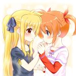 2girls blonde_hair blue_eyes blush collarbone couple eye_contact fate_testarossa hand_kiss happy holding_hands kiss long_hair looking_at_another lyrical_nanoha mahou_shoujo_lyrical_nanoha mahou_shoujo_lyrical_nanoha_a's multiple_girls neck orange_hair red_eyes short_hair short_twintails smile takamachi_nanoha twintails two-tone_background yuri