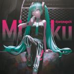 1girl alternate_costume anamanaguchi_(band) barbed_wire chain-link_fence character_name drinking fence green_eyes green_hair hair_between_eyes hatsune_miku headphones highres long_hair necktie pants reoen sitting solo striped tank_top twintails vertical-striped_pants vertical_stripes very_long_hair vocaloid