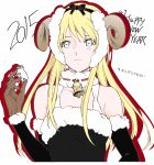 1girl absurdres bell black_hairband black_sleeves blonde_hair blue_eyes blush break_blade breasts brown_gloves choker closed_mouth collarbone detached_sleeves fake_horns frown fur-trimmed_sleeves fur_trim gloves hair_between_eyes hairband highres holding horns long_hair medium_breasts sheep_horns sigyn_erster solo upper_body white_background yoshinaga_yunosuke