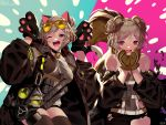 2girls absurdres animal_ears bsue cat_ears cat_paws cat_tail commentary_request dual_persona english_text eyewear_on_head gas_mask girls_frontline highres huge_filesize multiple_girls one_eye_closed p90_(girls_frontline) paws squirrel_ears squirrel_tail sunglasses tail thigh-highs torn_clothes