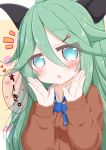 1girl :o bangs black_ribbon blue_bow blue_eyes blush bow brown_cardigan cardigan collared_shirt commentary_request eyebrows_visible_through_hair flower green_hair hair_between_eyes hair_flower hair_ornament hair_ribbon hairclip hands_up high_ponytail highres kantai_collection long_hair long_sleeves looking_at_viewer notice_lines parted_lips pink_flower ponytail ribbon ridy_(ri_sui) shirt sleeves_past_wrists solo translated white_shirt yamakaze_(kantai_collection)