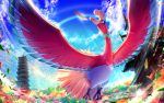 blue_sky canata_katana clouds day from_below gen_2_pokemon ho-oh leaf no_humans outdoors pokemon pokemon_(creature) red_eyes sky