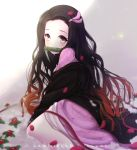 1girl absurdres artist_name bamboo bangs black_hair blurry blurry_foreground blush brown_hair commentary_request depth_of_field flower forehead from_side gradient gradient_background gradient_hair grey_background hair_ribbon highres japanese_clothes kamado_nezuko kimetsu_no_yaiba kimono lawnielle long_hair looking_at_viewer looking_to_the_side mouth_hold multicolored_hair off_shoulder parted_bangs petals pink_eyes pink_kimono pink_ribbon red_flower ribbon solo very_long_hair white_background