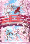 1girl ayataka bangs blue_sky blush bridge brown_eyes brown_hair cherry_blossoms closed_mouth clouds cloudy_sky commentary_request day floral_print flower hair_bun hair_flower hair_ornament highres holding holding_umbrella japanese_clothes kimono long_sleeves obi oriental_umbrella original outdoors petals red_umbrella sash sky solo standing tree umbrella wide_sleeves