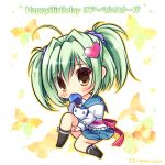 1girl ahoge bangs black_legwear blue_neckwear blue_sailor_collar blue_skirt blush bow brown_eyes bug butterfly character_name chibi closed_mouth commentary_request eyebrows_visible_through_hair full_body green_hair hair_between_eyes hair_intakes hair_ornament hair_scrunchie happy_birthday head_tilt heart heart_hair_ornament insect juliet_sleeves knee_up kneehighs lia_berlioz long_sleeves necktie_in_mouth no_shoes pleated_skirt prism_rhythm puffy_sleeves purple_scrunchie ryuuka_sane sailor_collar school_uniform scrunchie serafuku shirt sitting skirt solo twitter_username two_side_up white_background white_bow white_shirt