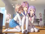 5girls :d :o ahoge alternate_costume anchor_print animal ayanami_(azur_lane) azur_lane bird black_ribbon black_sailor_collar blue_sailor_collar blue_skirt blue_sky brown_hair buttons chick collarbone commentary_request computer couch day feet grand_piano green_eyes hair_ornament hair_ribbon hair_scrunchie hand_on_another's_shoulder hand_up headgear highres holding indoors instrument javelin_(azur_lane) keyboard_(computer) kneeling knees_up laffey_(azur_lane) long_hair long_sleeves looking_at_viewer low_twintails manjuu_(azur_lane) microphone miniskirt multiple_girls neckerchief no_shoes on_couch open_mouth pantyhose piano pink_neckwear plant playstation_controller pleated_skirt ponytail potted_plant purple_hair red_eyes red_neckwear ribbon sailor_collar school_uniform scrunchie serafuku shadow shirt short_hair sidelocks silver_hair sitting skirt sky smile standing sunlight television toes tokinohimitsu twintails unicorn_(azur_lane) v v_arms violet_eyes wariza white_cardigan white_legwear white_shirt window yellow_neckwear z23_(azur_lane)