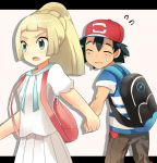 1boy 1girl black_hair blonde_hair kuriyama lillie_(pokemon) pokemon pokemon_(anime) pokemon_(game) pokemon_sm pokemon_sm_(anime) satoshi_(pokemon)