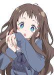 1girl :o blue_eyes blue_ribbon brown_hair ixy kyoukai_no_kanata long_hair long_sleeves looking_at_viewer ribbon school_uniform shindou_ai simple_background sleeves_past_wrists solo upper_body white_background