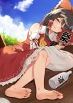 1girl alcohol arm_ribbon ascot bangs bare_shoulders barefoot black_hair blue_sky bottle bow clouds commentary day detached_sleeves eyebrows_visible_through_hair fan feet flan_(seeyouflan) frilled_bow frilled_shirt_collar frills grass hair_bow hair_tubes hakurei_reimu half-closed_eyes highres holding holding_fan long_hair looking_at_viewer lying on_side outdoors paper_fan parted_lips petticoat red_bow red_eyes red_ribbon red_skirt ribbon ribbon-trimmed_sleeves ribbon_trim sake sake_bottle sidelocks skirt skirt_set sky soles solo touhou translated uchiwa wooden_floor yellow_neckwear