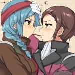2girls aqua_hair arisa_gunhale blue_hair blush braid brown_eyes brown_hair gloves green_eyes gundam gundam_age headband inaho jacket long_hair military military_uniform millais_alloy multiple_girls open_clothes open_jacket pocky pocky_kiss profile shared_food short_hair single_braid sweat trembling uniform white_gloves yuri